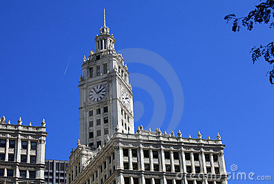 Wrigley Building with blue sky