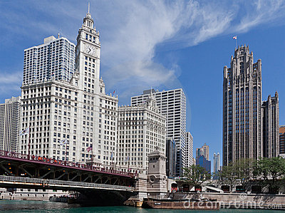 Wrigley Building and Herald Tribune Chicago Editorial Photography