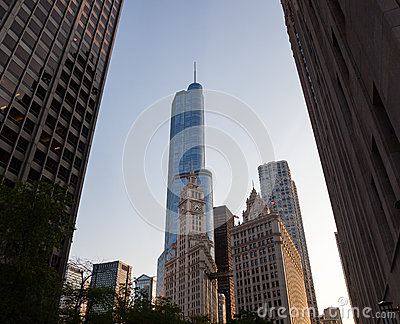 Wrigley building and Trump tower Chicago Editorial Stock Image