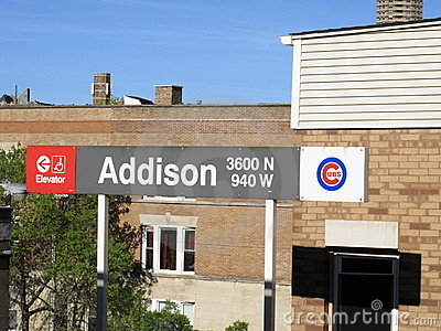 Wrigley Field CTA Station, Chicago Cubs Editorial Stock Image