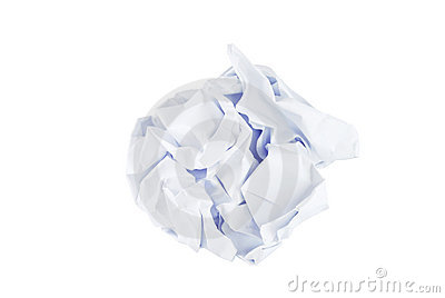 Wrinkled paper ball isolated