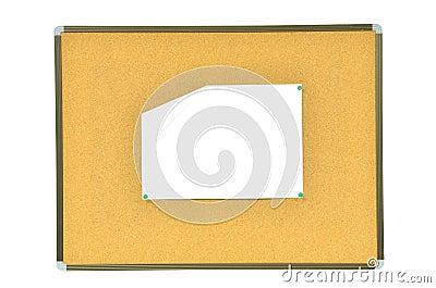 Wrinkled paper on cork board
