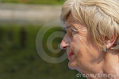 Wrinkled woman profile