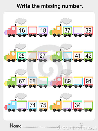 Write The Missing Number - Worksheet For Education Stock Vector ...