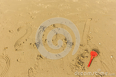 2017 write in the wet sand Stock Photo