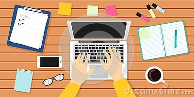 Writer Workplace Vector Illustration. Author, Journalist, Laptop Vector Illustration