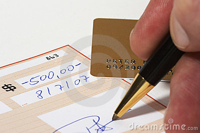 Writing a bank check