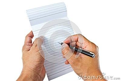 Writing on blank notepad