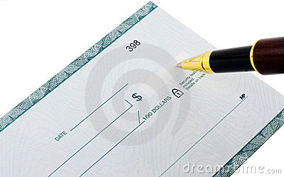 Writing a check with ballpoint pen