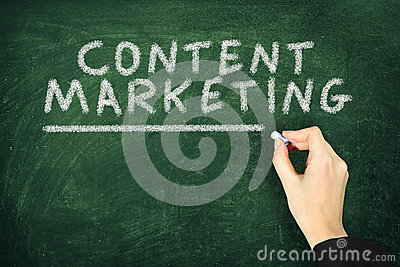 Writing Content Marketing on Chalkboard Concert