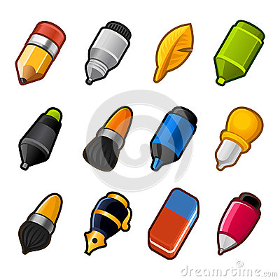 Writing and Drawing tools icon set