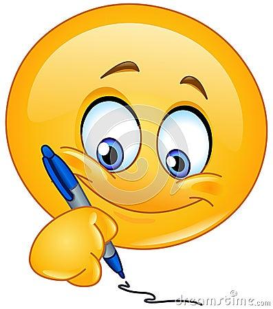 Free Writing Emoticon Royalty Free Stock Photo - 37540165