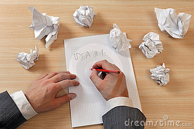 Writing ideas down on paper
