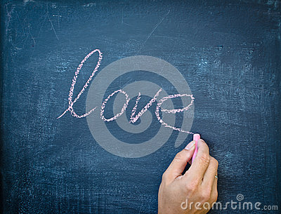 Writing love with chalk