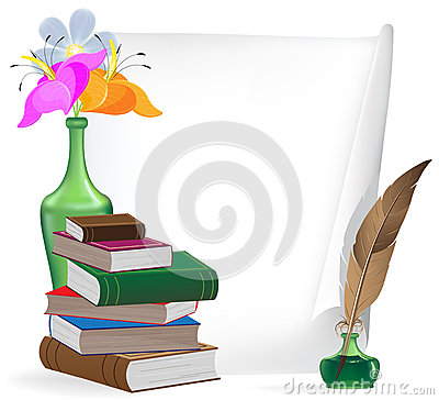 Writing materials and flowers