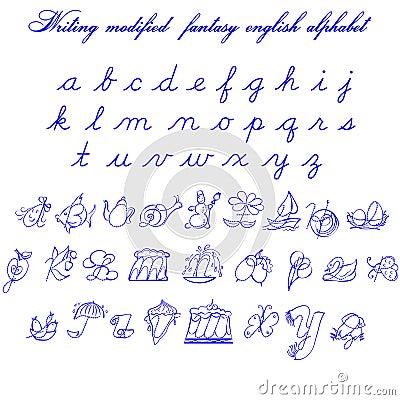 Writing Fantasy Modifyed English Alphabet 2 Vector Illustration ...