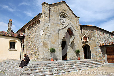 Writing monk near Convento di San Francesco, Italy Editorial Photography