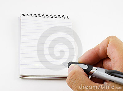 Person writing a note