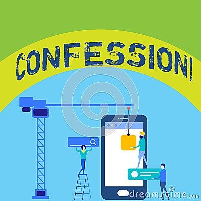Writing note showing Confession. Business photo showcasing Admission Revelation Disclosure Divulgence Utterance Stock Photo