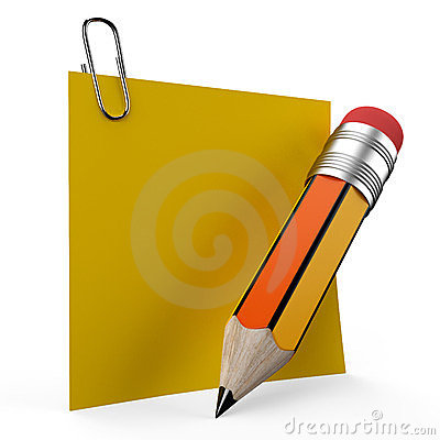 Writing on office note with a yellow pencil repres