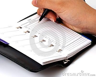 Writing on an organizer