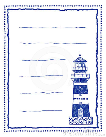 Writing paper or letter paper with lighthouse