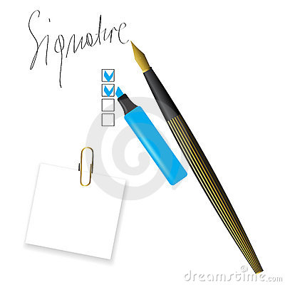 Writing pen head and signature