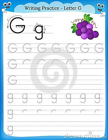 Writing practice letter G printable worksheet for preschool ...