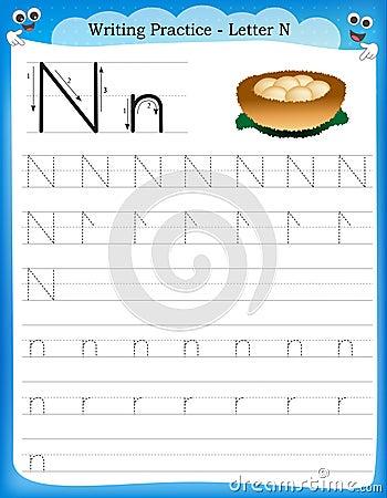 practice letter N printable worksheet with clip art for preschool ...
