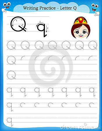 Writing Practice Letter Q Stock Vector - Image: 50726687