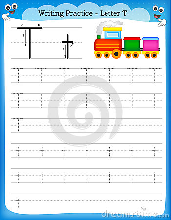 Writing practice letter T printable worksheet with clip art for ...
