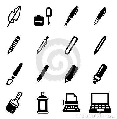 Free Writing Tools Icons Stock Image - 52804481