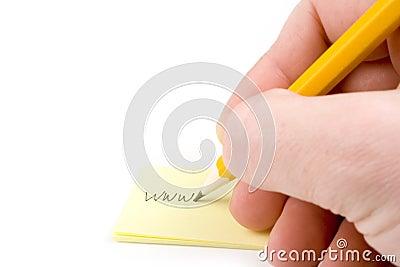 Writing web address on paper