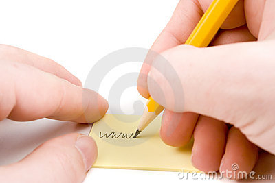 Writing web address on paper