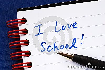 Writing the words I love School