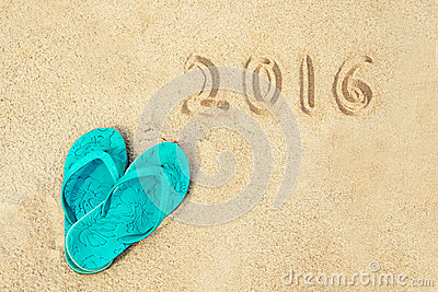 2016 written in the sand of a beach Stock Photo