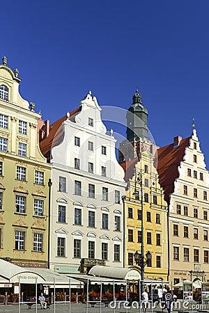 Wroclaw - östlig del av marknadsstället Redaktionell Arkivbild