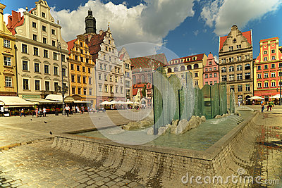 Wroclaw - glass fountain Editorial Photo