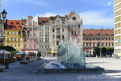 Wroclaw - glass fountain in market place Editorial Photography