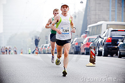Wroclaw Marathon runners Editorial Stock Photo