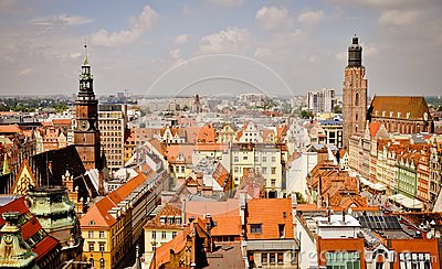 Wroclaw old town panorama