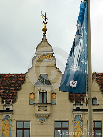 Wroclaw, POL:EURO 2012 Follow the Trophy Tour Flag Editorial Stock Image