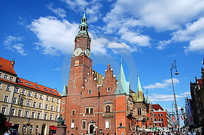 Wroclaw, Poland: Ratusz Town Hall in Rynek Square Editorial Image