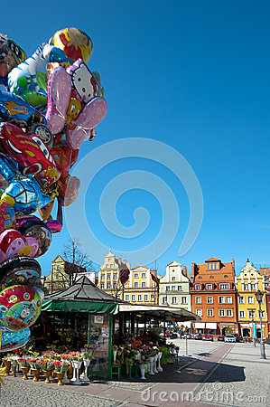 Wroclaw Poland, Town Market Square Editorial Photography