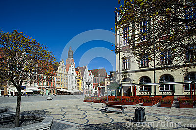 Wroclaw Poland, Town Market Square Editorial Photo