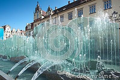 Wroclaw Polonia, fontana del quadrato del mercato