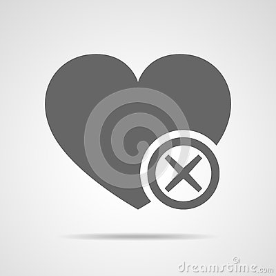 Wrong mark with heart. Vector illustration. Cartoon Illustration