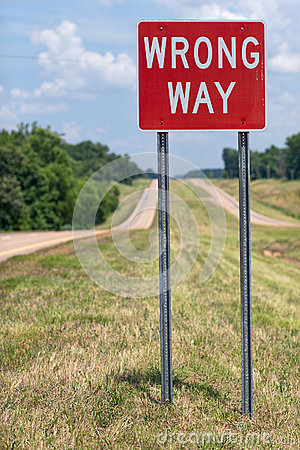 Free Wrong Way Road Sign Royalty Free Stock Photography - 46288727