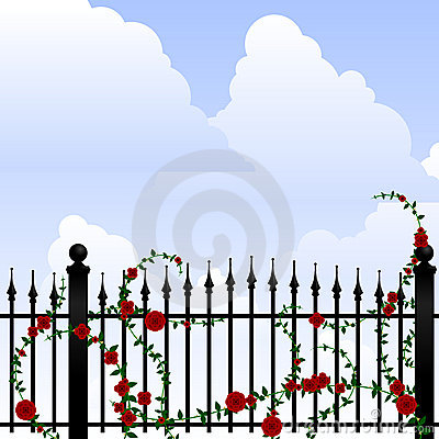 Free Wrought Iron And Roses Stock Photo - 9222340
