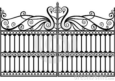 Wrought iron fence or gate vector eps
